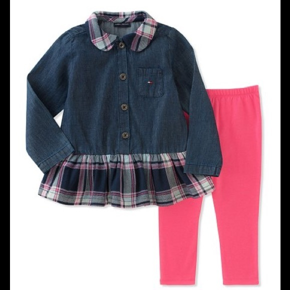 Tommy Hilfiger Other - Tommy Hilfiger Plaid Ruffle Tunic & Leggings Set